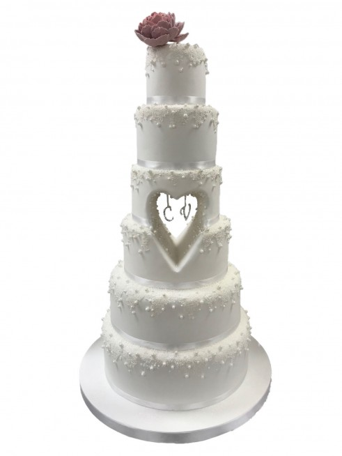 Cut Out Heart Wedding Cake
